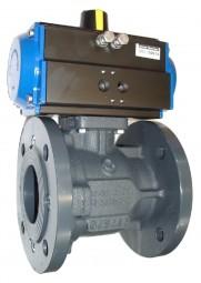 Flanschkugelhahn, DVGW Gas, mit Pneumatikantrieb (SR)